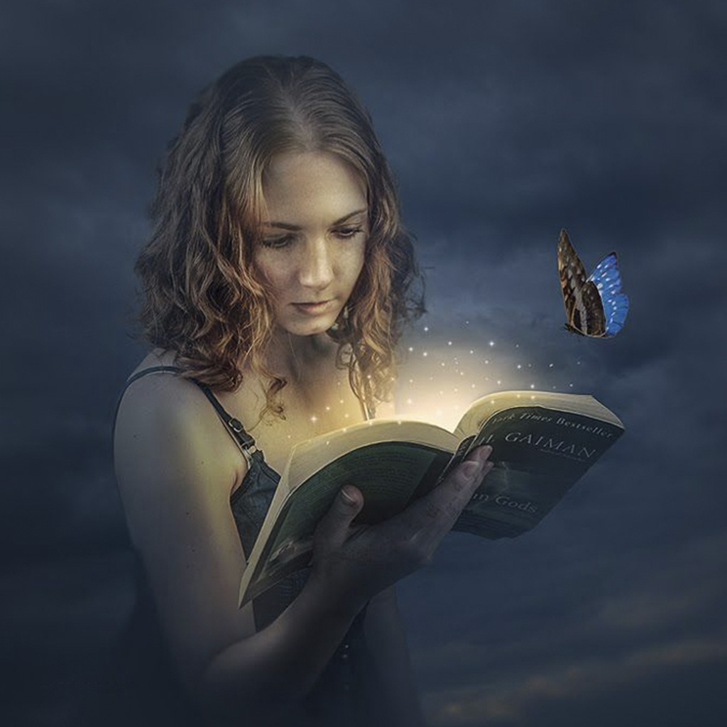 A Beautiful Girl Reading A Book After Image Retouching Services