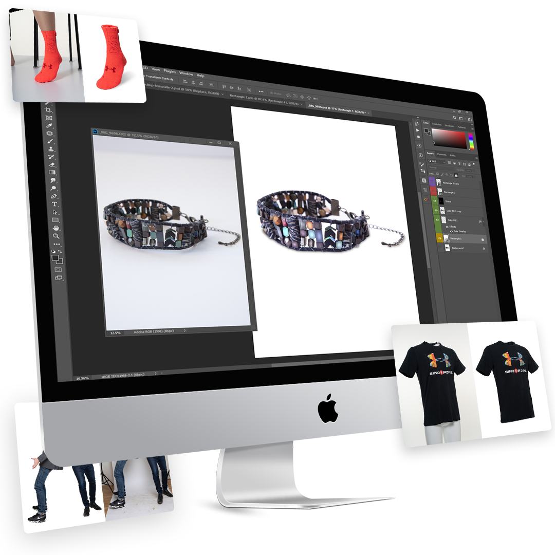 A Sock, Bracelet, and T-shirt - Photo Editing Services